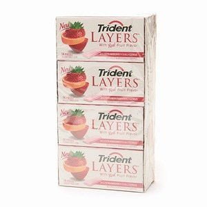 12  Trident layers Wild Strawberry Tangy Citrus  14 Pieces Per Pack  Exp  Oct 3  2020