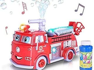 ArtCreativity Bubble Blowing Fire Engine Toy Truck for Kids   Awesome light Up lED and Siren Effects   Bubble Solution and Funnel Included   Best Birthday for Boys and Girls 5