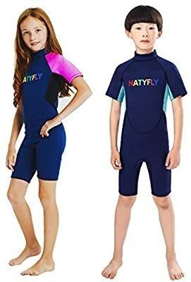 NATYFlY Kids Wetsuit Premium 2mm Neoprene Short Sleeve Youth Shorty Wetsuit for Girls Boys Child  Blue  3X large