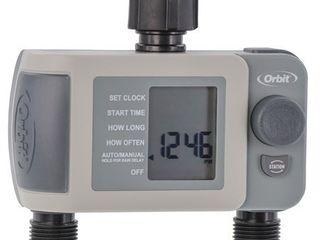 Orbit 24621 2 Outlet Hose Faucet Timer  Gray