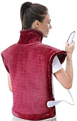 large Heating Pad for Back and Shoulder Pain  24 x33  Heat Wrap with Fast Heating and 5 Heat Settings for Sport Sorness and Cramps Relief  Auto Shut Off Available Crimson