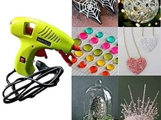 NEX CO Kids Mini Hot Glue Gun with 60 Pack Colored Glue Sticks   Melting Adhesive Glue Gun Kit for Small Arts Craft Projects with Finger Protectors   Safety low Temp On Off Switch lED Indicator Green