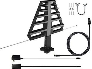 ANTAN Outdoor Antenna with Mounting Base For Attic or Roof   33FT RG6 Coax Cable  65 75 Miles Range  Support 8K 4K 1080P UHF VHF Freeview HDTV Channels