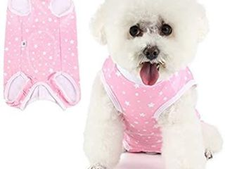 Due Felice Dog Professional Surgical Recovery Suit for Abdominal Wounds Skin Diseases  After Surgery Wear  E Collar Alternative for Dogs  Home Indoor Pets Clothing Pink Star Stripe l