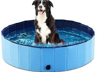 Jasonwell Foldable Dog Pet Bath Pool Collapsible Dog Pet Pool Bathing Tub Kiddie Pool for Dogs Cats and Kids  39 5inch D x 11 8inch H  Blue