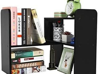 PAG Desktop Bookshelf Adjustable Countertop Bookcase Office Supplies Wood Desk Organizer Accessories Display Rack  Retro Brown