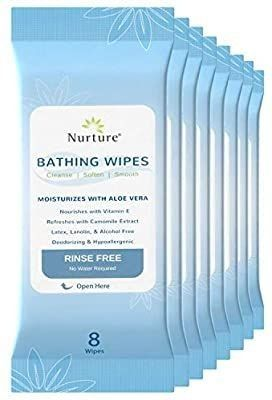 No Rinse Bathing Wipes  8 Pack    64 Microwavable Adult Wash Cloths with Aloe Vera and Vitamin E   Rinse Free Cleansing Body Bath Wipes   latex  lanolin  and Alcohol Free   8 Packs of 8 Wipes