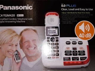 Panasonic   KX TGM420W DECT 6 0 Expandable Cordless Phone System with Digital Answering System   White