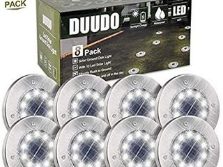 DUUDO Solar Ground light  Upgraded 10 lED Garden Pathway Outdoor Waterproof in Ground lights  Disk lights  Cold White  8 Packs
