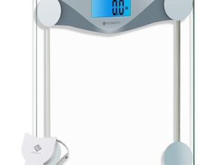 Etekcity Digital Body Weight Bathroom Scale with Body Tape Measure  large Blue lCD Backlight Display  High Precision Measurements 6mm Tempered Glass  400 Pounds