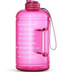 Buildlife Gallon Motivational Water Bottle Wide Mouth with Time Marker Flip Top leakproof lid One Click Open large BPA Free Capacity for Fitness Goals and Outdoor high Heels  1 Gallon