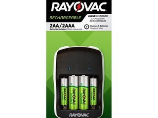 Rayovac AA   AAA Rechargeable Batteries with Battery Charger  2 AA   2 AAA Rechargeable Batteries with Charger