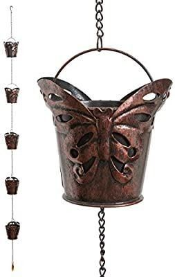 Iron Bird Decorative Rain Chain for Gutters   Unique Downspout Extension Home DAccor   Rainwater Diverter with Rain Collector Cups is an Excellent Gift Idea for Housewarming  Birthday  Bird