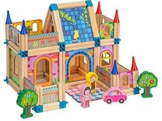Babylian Building Blocks  3D Wooden Assembled Toy for Toddlers Kids Children Preschool Boys and Girls DIY Construction Developmental Educational Bricks 128 pcs