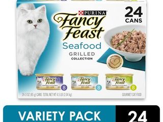 24 Pack  Fancy Feast Gravy Wet Cat Food Variety Pack  Seafood Grilled Collection  3 Oz  Cans
