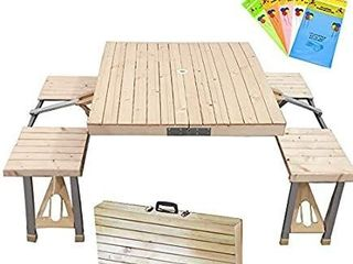 STONCEl Folding Table and Chairs Set  Portable Picnic Table with 4 Seats for Outdoor Camping Picnic BBQ  Party and Dining Wooden