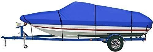 iCOVER Trailerable Boat Cover  600D Heavy Duty Waterproof UV Resistant Marine Grade Polyester Fits V Hull TRI Hull Pro Style Fishing Boat Runabout Bass Boat  Optional Support Pole Tightening Strap