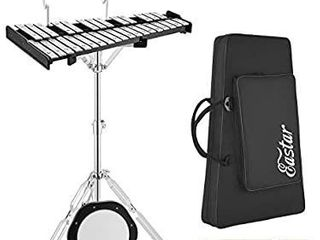 Eastar Advanced 32 Note Glockenspiel Xylophone Bell Kit Percussion Kit for Adults Beginner with 8 inch Drum Practice Pad  Stand  Mallets  Drum Sticks  and Carrying Bag