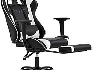Ergonomic Office Chair PC Gaming Chair Desk Chair Executive PU leather Computer Chair lumbar Support with Footrest Modern Task Rolling Swivel Chair for Women  Men White