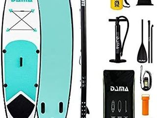 DAMA 10 x30 x4  Inflatable SUP for All Skill levels Stand Up Paddle Board  Adjustable Paddle  Single Action Pump  Waterproof Bag  leash  Shoulder Strap  Youth Inflatable Paddle Boards Green