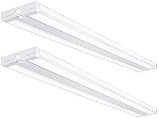 Antlux 4FT lED Wraparound light Fixture 50W Ultra Slim Wrap Around lights  5500lm  4000K  4 Foot lED Shop lights for Garage  Kitchen  Office  Gym  Surface or Suspended  Fluorescent Replacement  2 Pack