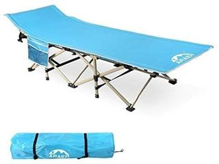 ARAER Camping Cot  450lBS Max load  Portable Foldable Outdoor Bed with Carry Bag for Adults Kids  Heavy Duty Cot for Traveling Gear Supplier  Office Nap  Beach Vocation and Home lounging