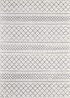 BigBug Milano Collection Modern Geometric Turkish Area Rug  Grey Off White  5 2  x 7 2