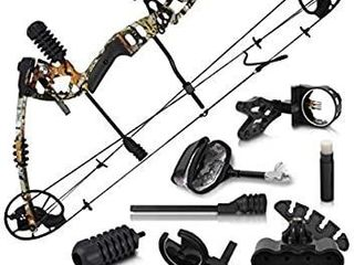 Predator Archery Raptor Compound Hunting Bow Kit  limbs Made in USA   Fully Adjustable 24 5 31a Draw 30 70lB Pull   Up to 315 FPS   Guarantee   5 Pin lighted Sight  Rest  Quiver   W String Stop