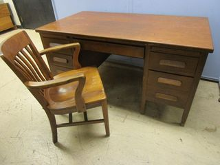 VINTAGE SOLID WOOD DESK, WITH CHAIR AND FLOOR PROTECTOR