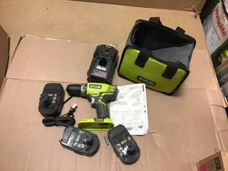 18-Volt ONE+ Lithium-Ion Cordless 1/4 in. Impact Driver Kit with (2) 1.5 Ah Batteries, Charger, and Bag by RYOBI in good condition