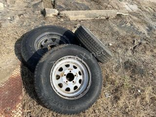 (3) Various Size Trailer Tires and Wheels