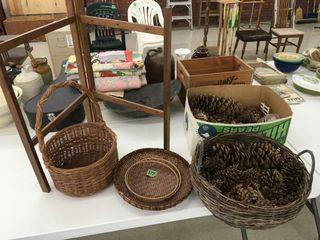 lg wicker tray/baskets, pine cones, embrodery hoop