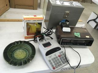 label maker, metal file box, radio, ashtray,