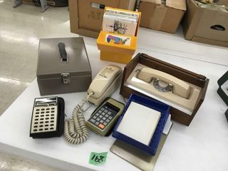 retro telephones, maps, calucators, file box