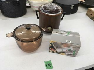 retro crockpot, steamer, brown glass pot