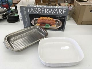 faberware metal pan, white baking pan