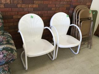 pair retro metal patio chairs