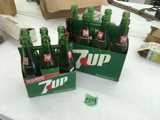 7-up bottles, 1 bud bottle