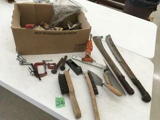 wire brushes, long corn knifes, misc box, clamps