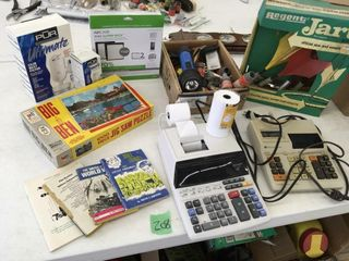 office items, puzzel, dart game, more