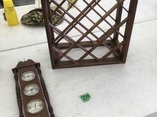 wine rack, thermometer