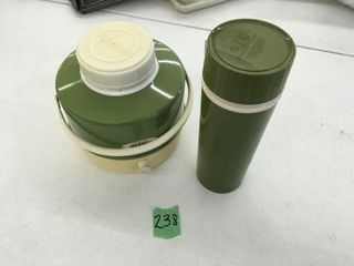 green retro water jug, thermos
