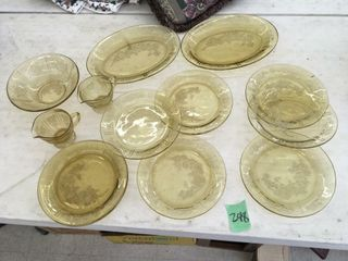 gold depression glass