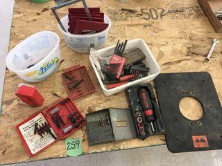 router bits, asst tools