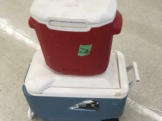 2 pull coolers on wheels w/handles