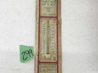 collectable metal farmers union thermometer