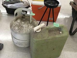 propane tank, water jug, plant stand