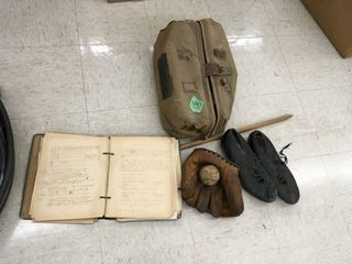 vintage baseball glove, shoes, ball, record book