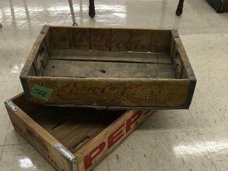 vintage pepsi & coca cola wood crates
