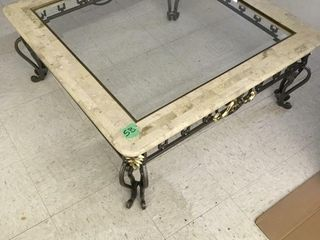 "marble/iron/glass coffee table, 38"" square"